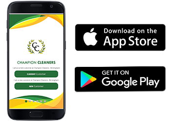 Download Champion Cleaners App on the App Store or Google Play Store