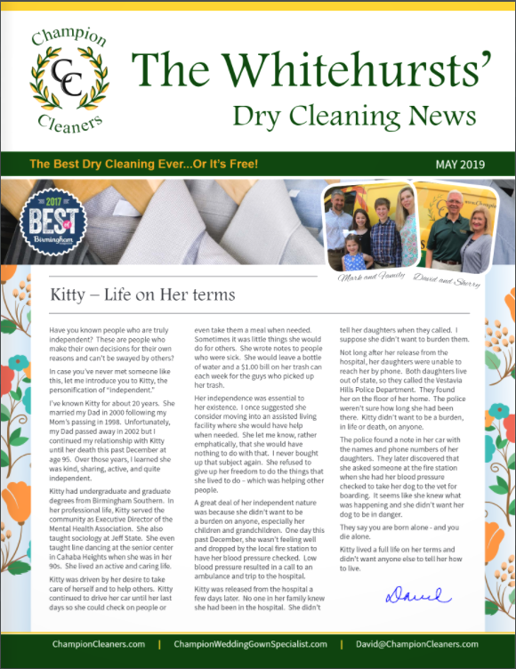 Champion Cleaners May 2019 Newsletter