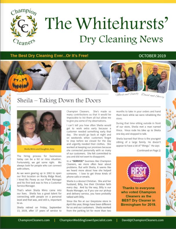 Champion Cleaners September 2019 Newsletter