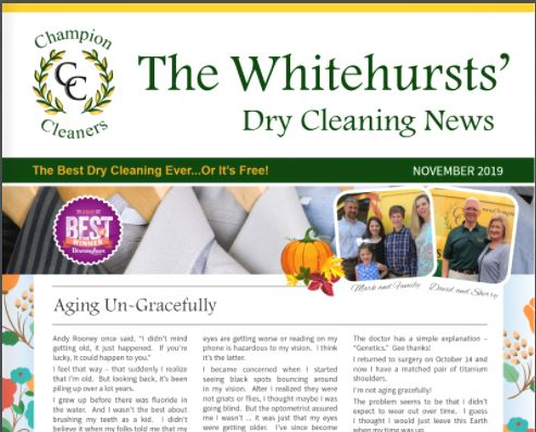 Champion Cleaners September 2019 Newsletter
