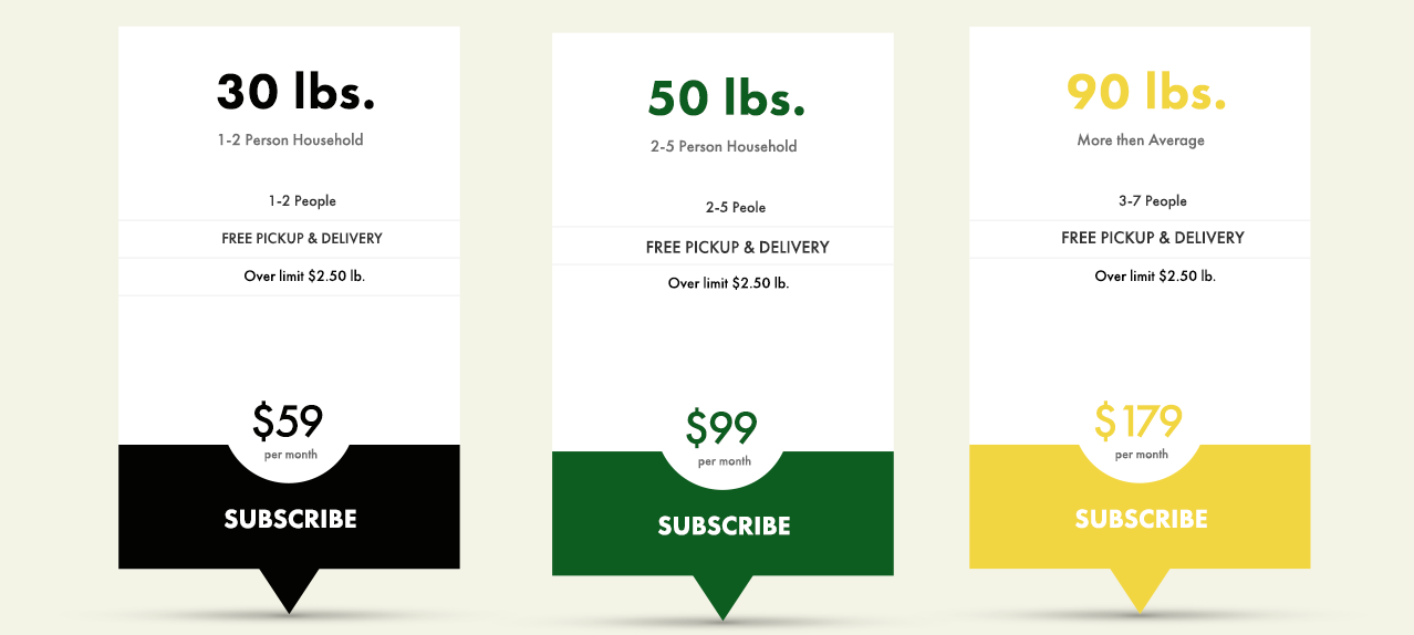 Champion Cleaners offers 3 subscription plans for their Dry Cleaning Pickup & Delivery service: 30 lbs (1-2 people) for $59/mo., 50 lbs (2-5 people) for $99/mo., or 90 lbs (3-7 people) for $179/mo.